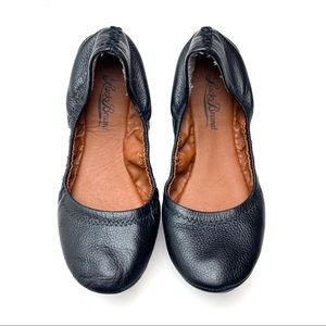 LUCKY BRAND Erin Black Leather Flats Slip On Shoes